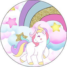 Fiestas Personalizadas Imprimibles Topper de Unicornios