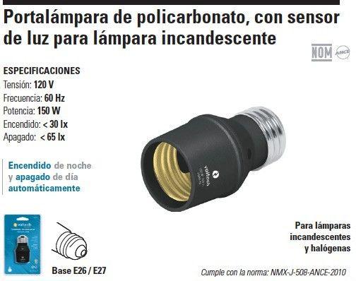 46516 Portalámpara con sensor de luz de policarbonato para focos incandescentes (no para ahorradores) $55.00 De venta en #Rhinos