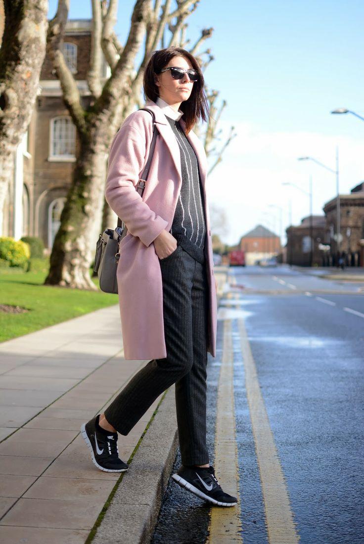ray bans sunglasses debenhams  ejstyle fashion blog emma hill london street style 2014 debenhams pink coat, mango stripe jumper, zara trousers & grey bag, ray ban wayfarer sunglasses