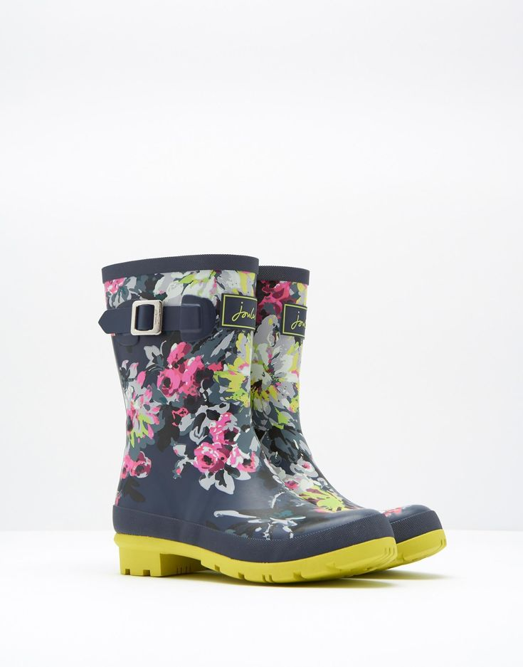 Molly French Navy Floral Mid Height Rain Boots | Joules US