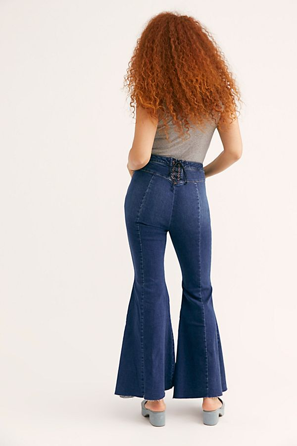 f71d7c2110b49f CRVY Super High-Rise Lace-Up Flare Jeans - High Rise Lace Up Flare Jeans -  Mega Flares - Lace Up Back Jeans - Free People Jeans