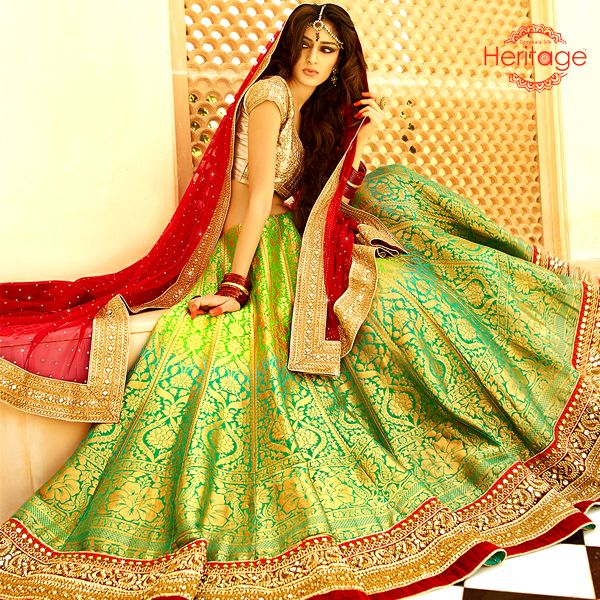Shaded #Green Net Kalidar Embroidered Lehenga Choli