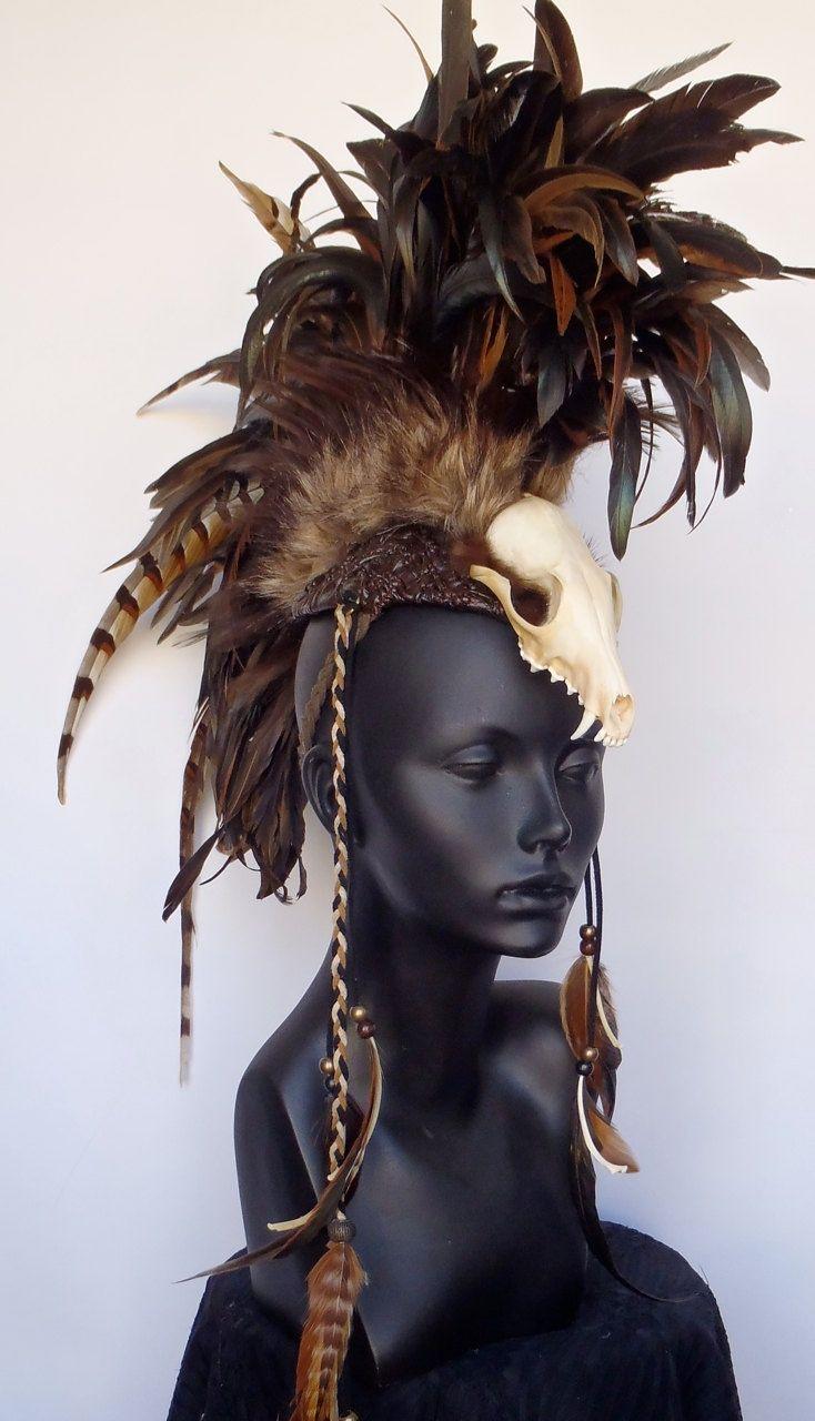 Skull Warrior Feather Mohawk via Etsy