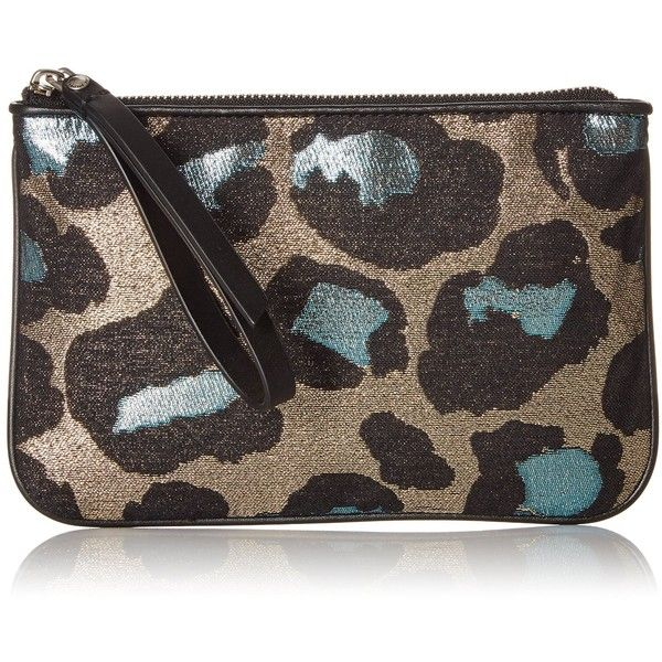 Marc by Marc Jacobs The Roxy 20 Devine Leopard Lurex Wristlet (€66) ❤ liked on Polyvore featuring bags, handbags, clutches, leopard wristlet, zipper wristlet, marc by marc jacobs handbags, leopard purse and leopard clutches