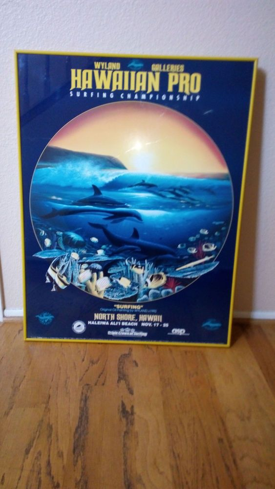 1992 WYLAND GALLERIES : Hawaiian Pro SURFING CHAMPIONSHIP Framed POSTER PRINT