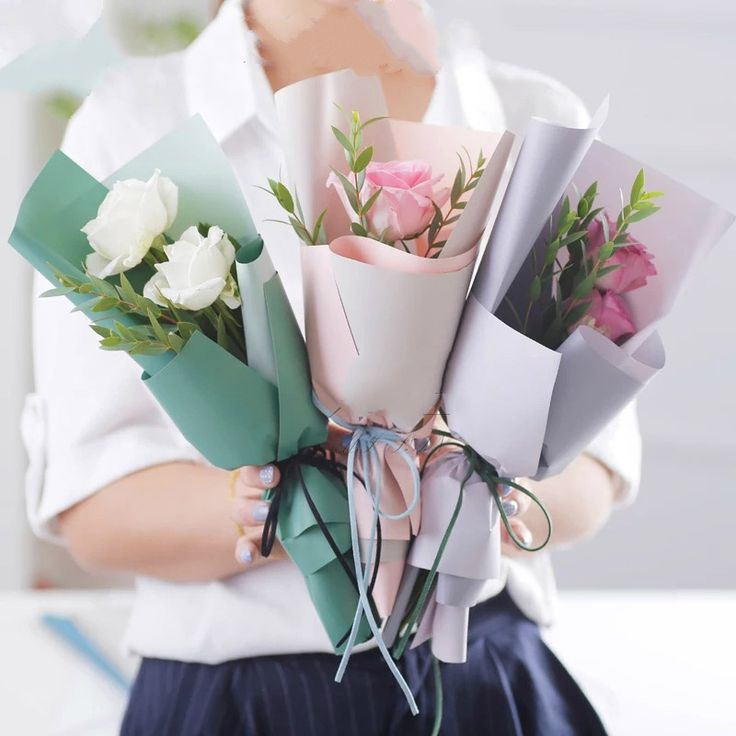 New Paper Packaging Flowers Gift Wrapping Paper Waterproof Two Color Matte Flowers Bouquet Packaging Materials 20pcs/lot