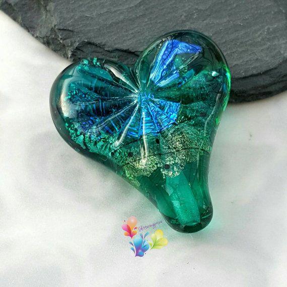 lampwork bead verde u0026 invidioso heart by for jewellery making heart
