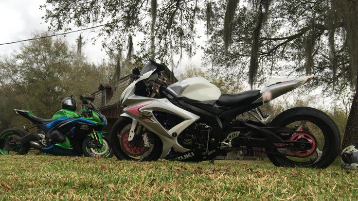 Her 08 gsxr 600 && his 09 gsxr 1000 12/25/2015 Christmas Ride  Kraemer, LA