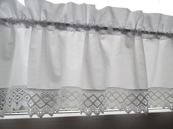 Vintage Landhausgardine Shabby Scheibengardine Weiss Volant Valance Curtains Shabby Curtains
