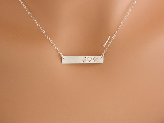 Monogram Bar Necklace, Couple Initial Necklace, Personalized Couple Necklace, Pendant Necklace, Gift For Girlfriend, Husband Gift For Wife on Etsy, $34.00