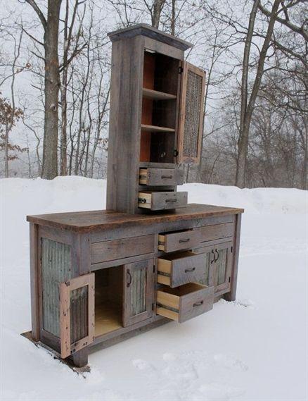 Rustic Bathroom Vanity Linen Cabinet Reclaimed Barn Wood