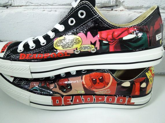 Men's Deadpool Comic Book Custom Sneakers. by Moonlightdecorator, $95.00