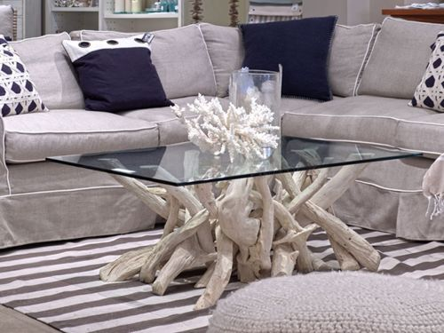 Driftwood Coffee Table Base for Glass Top