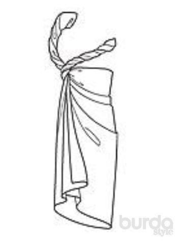 Парео обернуть вокруг туловища под мышками. Концы скрестить под правой рукой. Оба конца платка туго скрутить и сверху завязать узлом на правом плече. Совет: длину платья можно варьировать, подвернув один край парео до желаемой ширины.