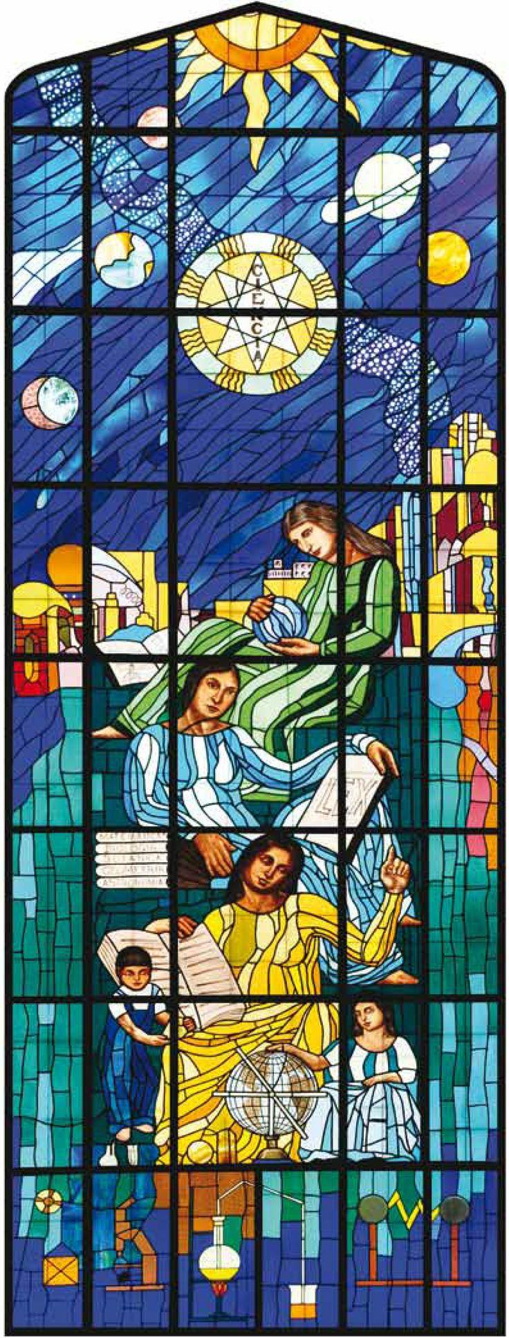 """La Enseñanza, vitral. Autor: Roberto Montenegro. 1933-1934. Ubicación: Aula Magna """"Fray Servando Teresa de Mier"""", Colegio Civil Centro Cultural Universitario."""