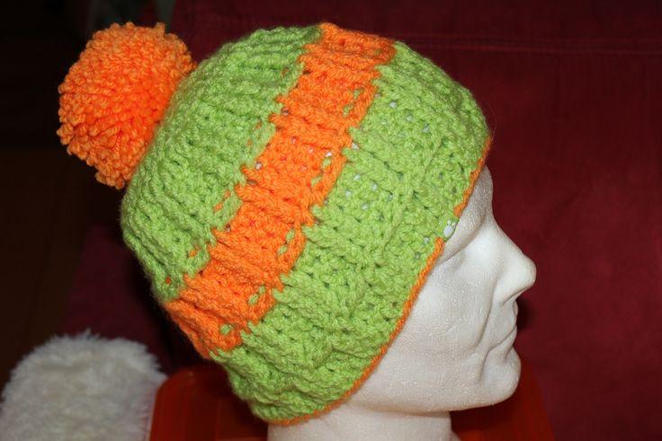 Bommelmütze in grün-orange total HIPP <3