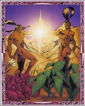 Rongo and Haumia- Maori myth: the god of cultivated food and the god of wild food. They were brothers and both attacked by their other brother, the storm god. They hid in the body of Papa, Mother Earth.