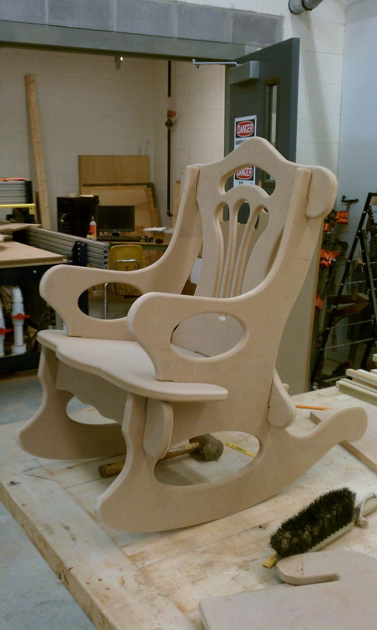 No fasteners, slips and locks together. rocking chair