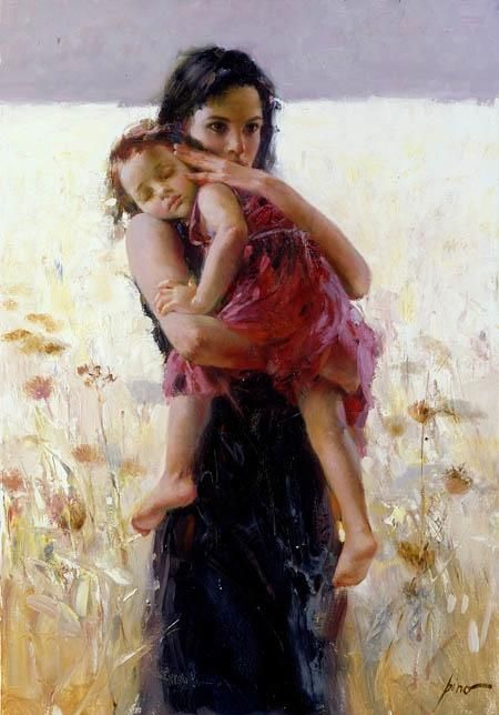 Nothing born into a art form measures dearness more than a lovely woman amid the natural beauty of flowers but for the sleeping face of the child in her arms, which gives a portrait of the truly divine.   ~~R Andrews  (this artist - Pino Daeni)