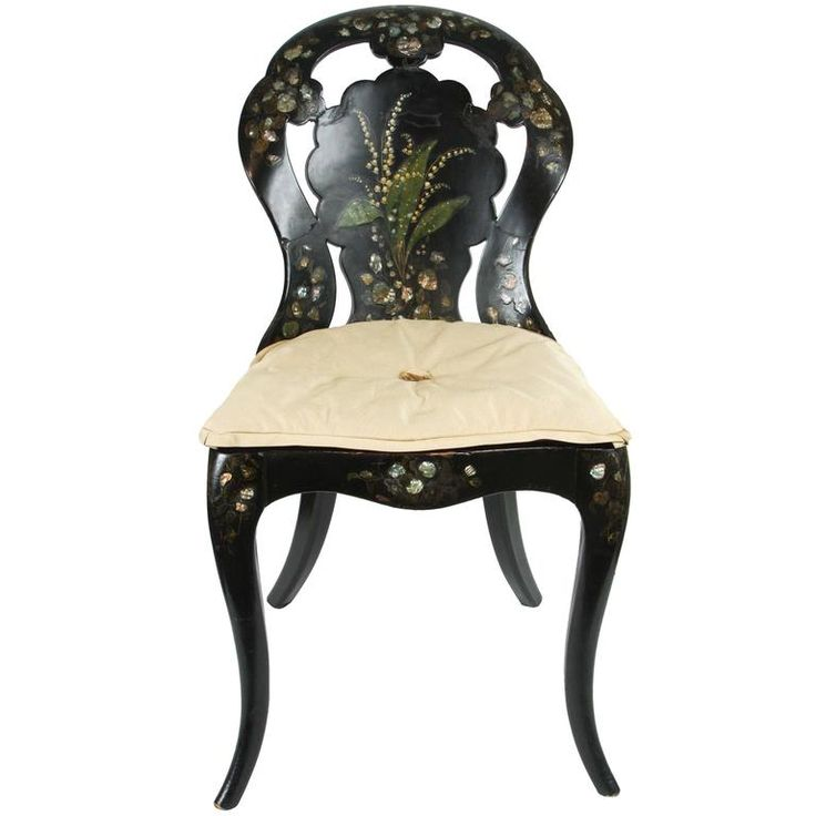A Papier-Mache Chair in Black Lacquer with Mother of Pearl Inlay, circa 1850 1