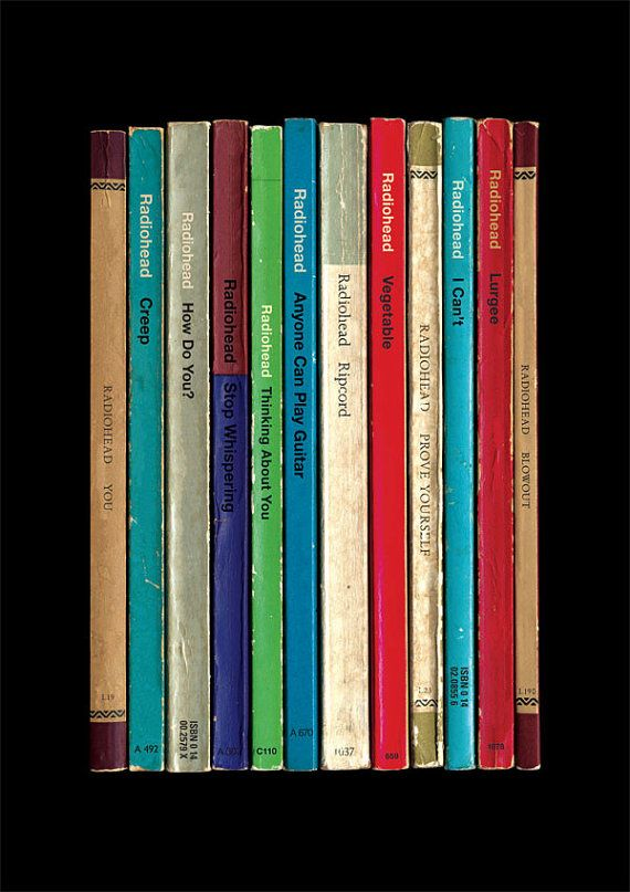 Radiohead Album As Books Poster Print via Etsy