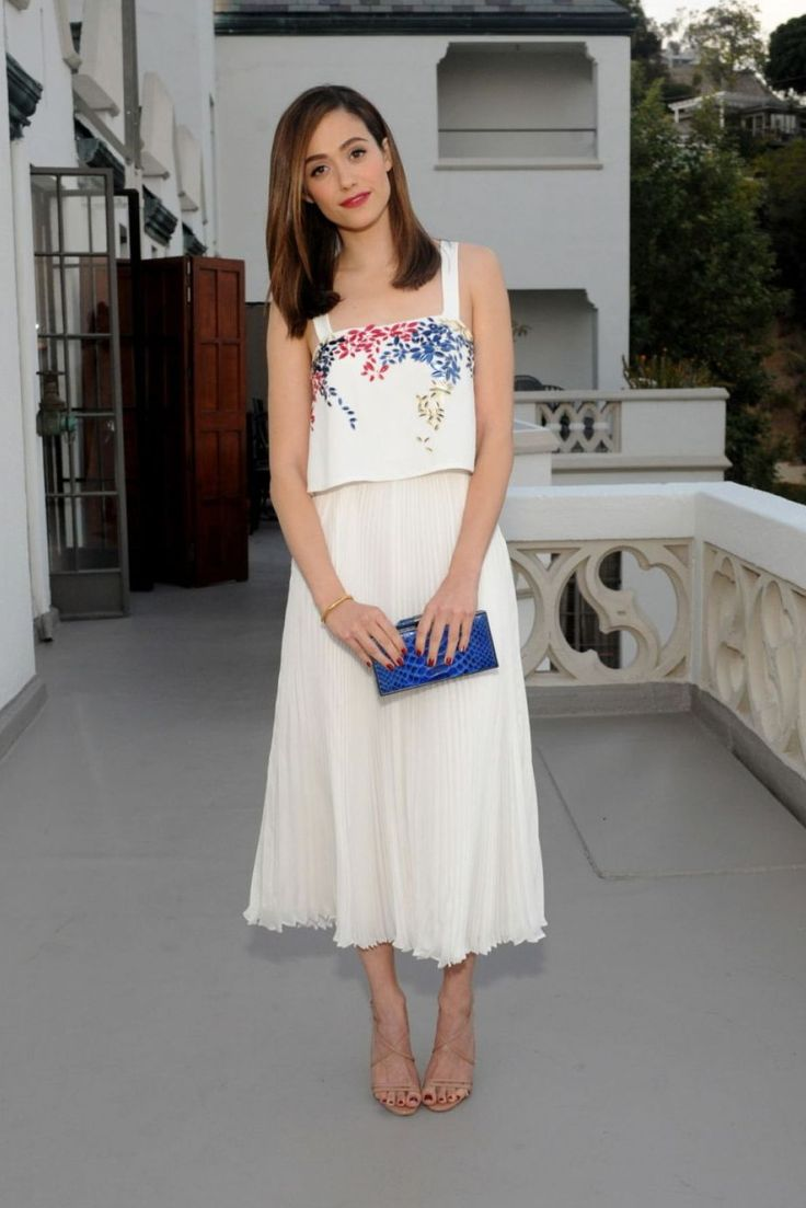 Emmy Rossum White Satin Dress