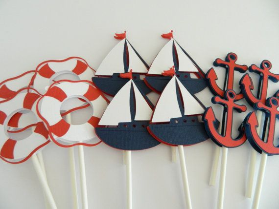 24 Nautical Cupcake Toppers Cupcake Toppers Sailboat by 2muchpaper, $22.00