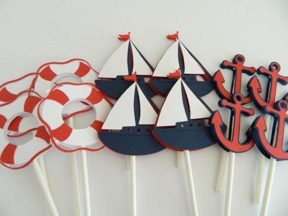 24 3 Designs Nautical Cupcake Toppers Cupcake por 2muchpaper