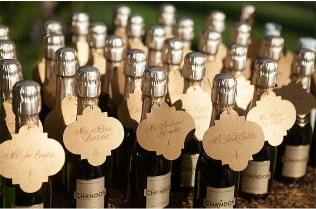 Champagne Bottle Escort Cards / Melissa Musgrove Photography / via StyleUnveiled.com
