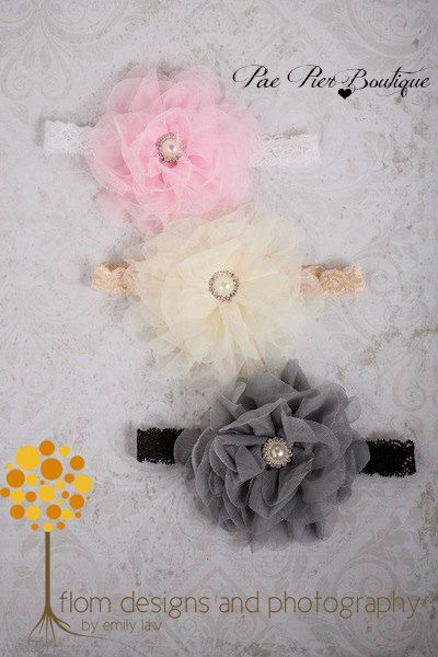 Baby Girl Headbands - 3 Pack Headbands - Baby Shower Gift - Newborn Headband - Infant Headband - Baby Headband - Toddler Headband - Vintage