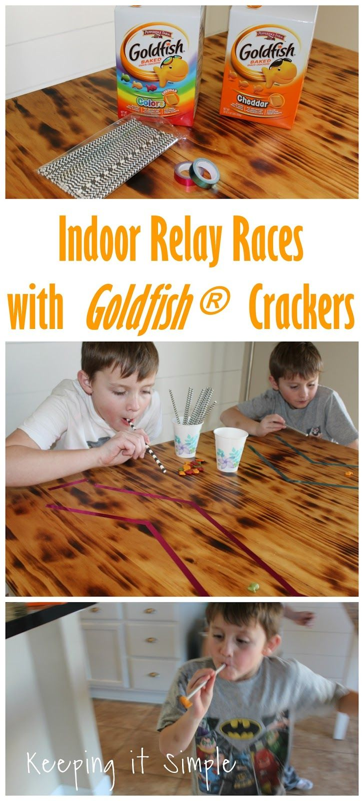 Indoor activities for kids- relay races with Goldfish® crackers #GoldfishGameTime AD @walmart