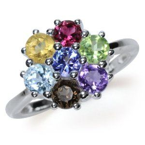 Natural Multi Colored 925 Sterling Silver Flower Cluster Ring Size 6 Silvershake. $44.99