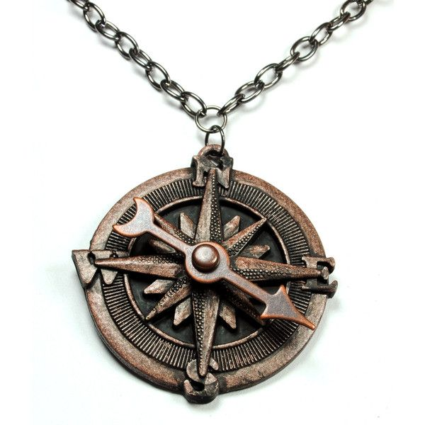 Steampunk Necklace Compass Necklace Spinning Pointer Compass Rose Pirate Gear Copper Jewelry Steam Punk Jewelry By Victorian Curiosities ($23) found on Polyvore