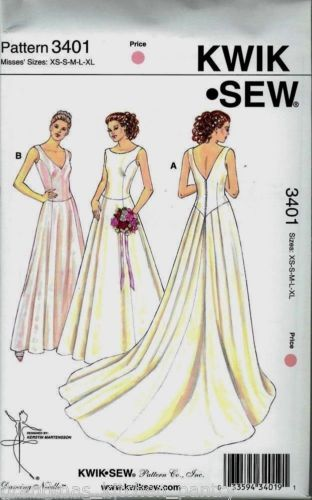 KWIK-SEW-Pattern-3401-Wedding-Gown-Misses-XS-XL-NEW-UNCUT-Never-Opened