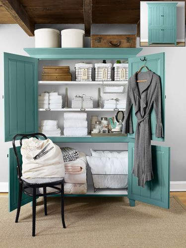 Use an armoire, like this one made of reclaimed barn wood,  to add space to your laundry room.Decor, Guest Room, Ideas, Linens Closets Organic, Country Living, Cabinets, Linen Closets, Bathroom, Barns Wood