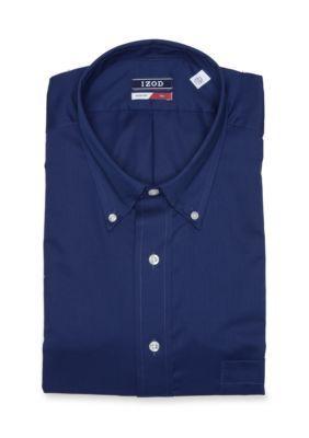 Izod Men's Big & Tall Twill Non-Iron Dress Shirt - Night Blue - 17.5 37/38
