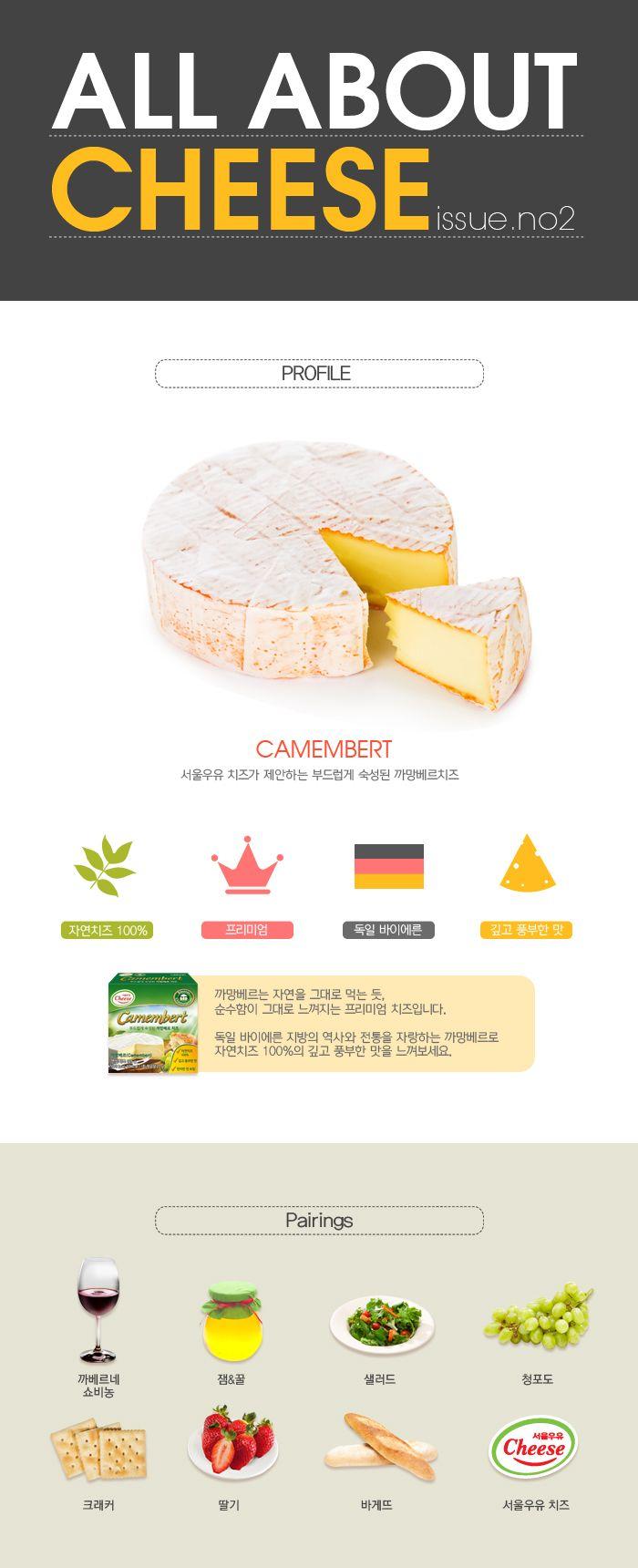 맛과 향 모양 등으로 나뉜 치즈의 종류는 무궁무진한데요. 까망베르치즈는 살균되지 않은 우유로 만들어져 비싸고 좋은 치즈로 인정받는다고 하죠? 부드럽게 숙성된 독일 바이에른 지방의 역사와 전통을 자랑하는 까망베르치즈는 보통 특유의 향을 즐기기 위해 빵 위에 얹어 먹거나 와인과 곁들어 먹는데요. 어떤 조합과 가장 잘 어울리는지 알아볼까요? :-)