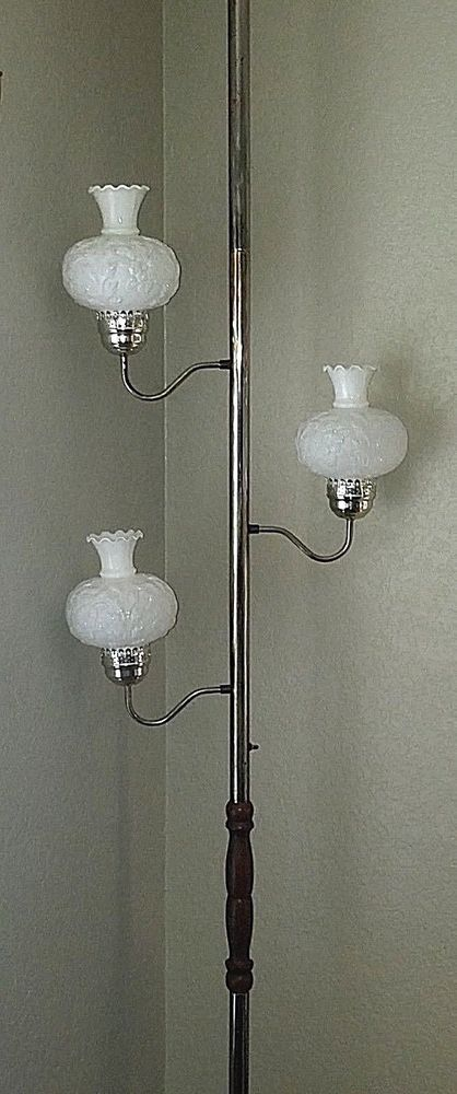 Details About Vintage Retro 3 Light Tension Pole Lamp With