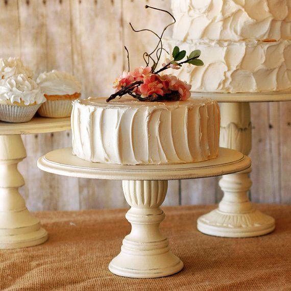 Set of 3 Rustic Pedestal Serving Cake Stands by RoxyHeartVintage