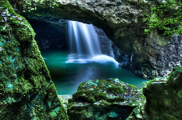 Natural Arch at Springbrook national park, Gold Coast hinterland. Come back at night to see the thousands of glow-worms