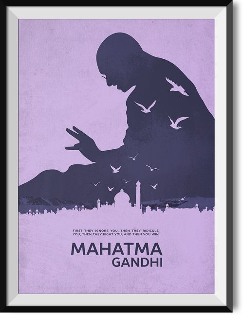 """Gandhi """"Then you win"""" quote poster"""