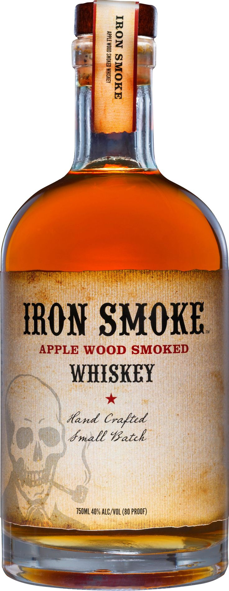 "Made from a ""bourbon"" mash bill that contains corn, rye, wheat and smoked barley sourced from American farms, Iron Smoke Whiskey is distilled and aged by Tommy Brunett at his distillery in Seneca Falls, NY. Before the grains are milled and mashed, Tommy and his team smoke them using applewood, which lends a pleasant, smoky yet sweet characteristic to the whiskey"