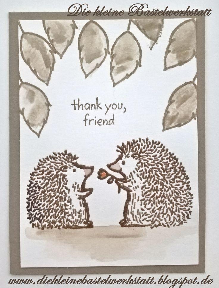 Stampin up Love You Lots Igel Herbst Grusskarte Karte Kinder Aquarell Für Lieblingsmenschen Taupe Embossing Prägepulver Kupfer