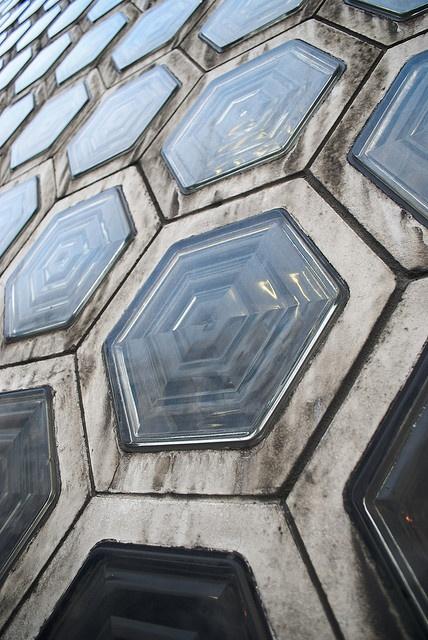 Smithfield hexagonal glass bricks wall design