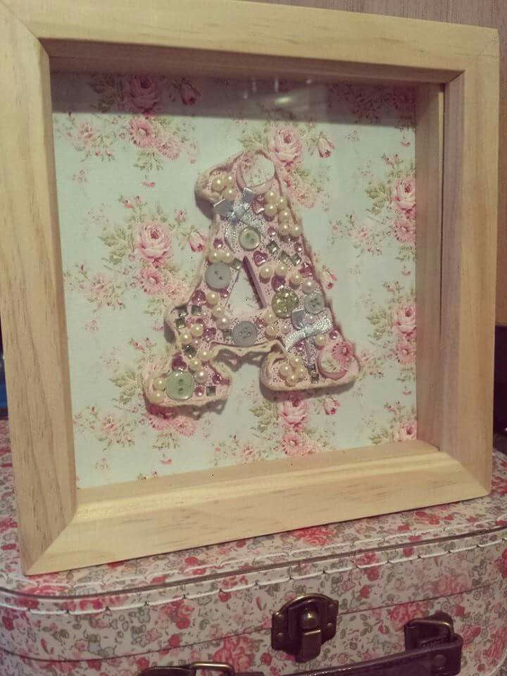 Decorated wooden letter in box frame