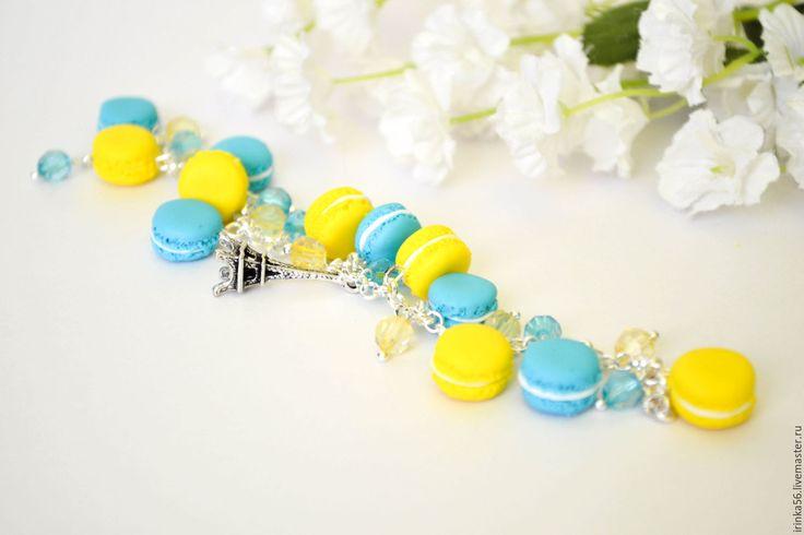 Купить Макарун... - бирюзовый, Макарун, макарон, сладости, яркий браслет, яркое украшение, на лето,…