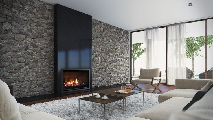Escea AF960 gas fireplace with Volcanic Black fascia and Log fuel bed.
