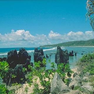 NAURU: The sea shore in Nauru in the South Pacific. surrounded by reef!