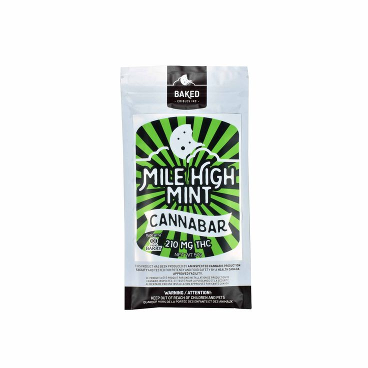 Baked Edibles - Mile High Mint Cannabar - The Healing Hut Dispensary  Our Baked Edibles Mile High Mint Cannabar is a silky, luxurious chocolate mint chocolate bar that barely tastes of marijuana at all. Milk and dark chocolate have been combined with mint and cannabis to produce this potent and luxurious cannabar!  Body-balanced, mentally uplifting effect.  210mg THC per Bar