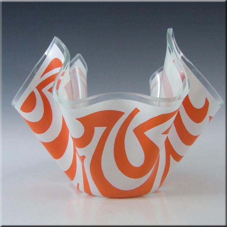 Chance Brothers Orange Glass 'Psychedelic' Handkerchief Vase - £40.00